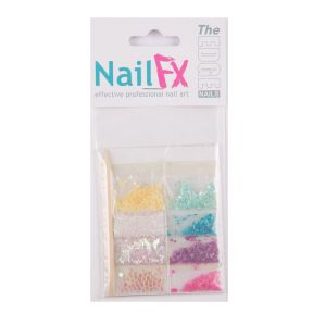 The Edge Nail Art Decoration Set D (Shell/Flatstones/Dust)